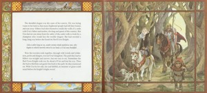 A two-page spread from the Caldecott-winning picture book Saint George and the Dragon (1984) by Margaret Hodges and Trina Schart Hyman