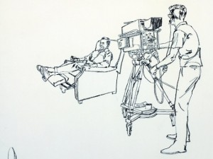 Larry Salk: TV camera and man in chair